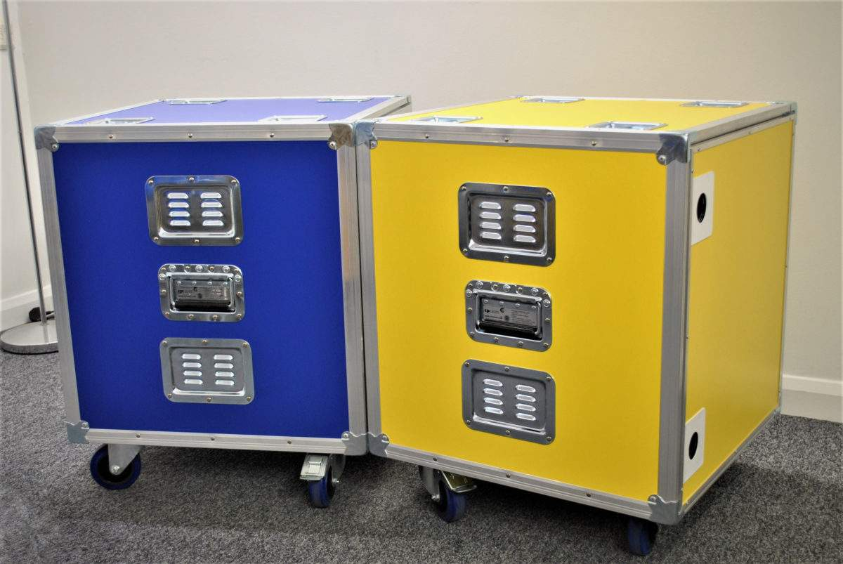 """Colour-coded stacking 19"""" Racks for IPE and YouTube Berlin"""