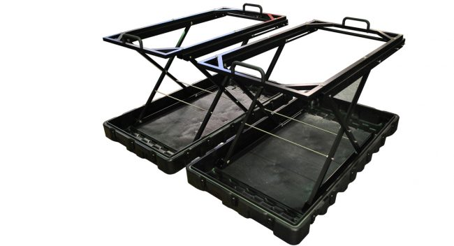 Unmanned Aerial Vehicle (UAV) with deployable transport case ids_scissorliftx1200