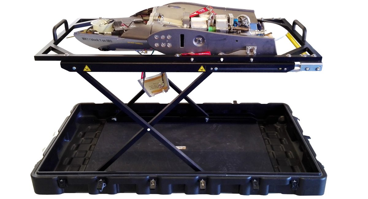 Unmanned Aerial Vehicle (UAV) with deployable transport case metal-bedx1200